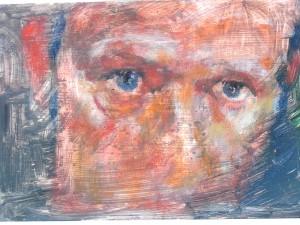 zelfportret in olieverf op een plankje