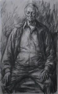 """""""portret van Jef"""" 1.45 CM X 95 CM, HOUTSKOOLTEKENING"""